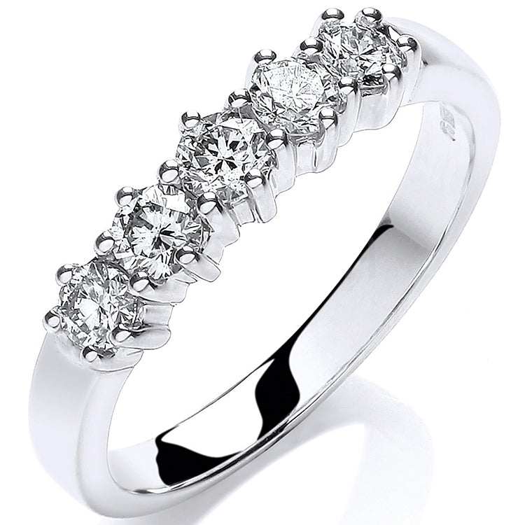 9ct White Gold 0.50ct 5 Stone Diamond Eternity Ring