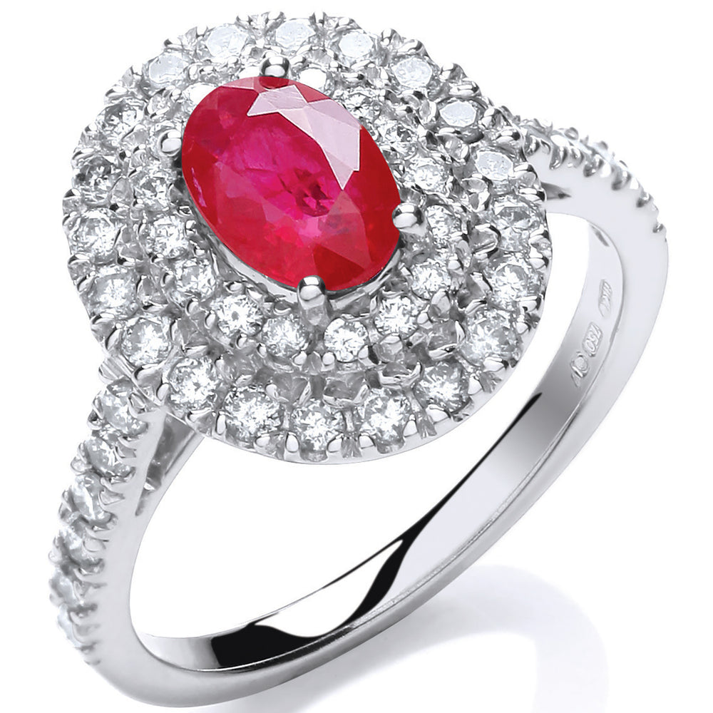 18ct White Gold 0.60ct Diamond, 0.90ct 7x5mm Oval Ruby Ring