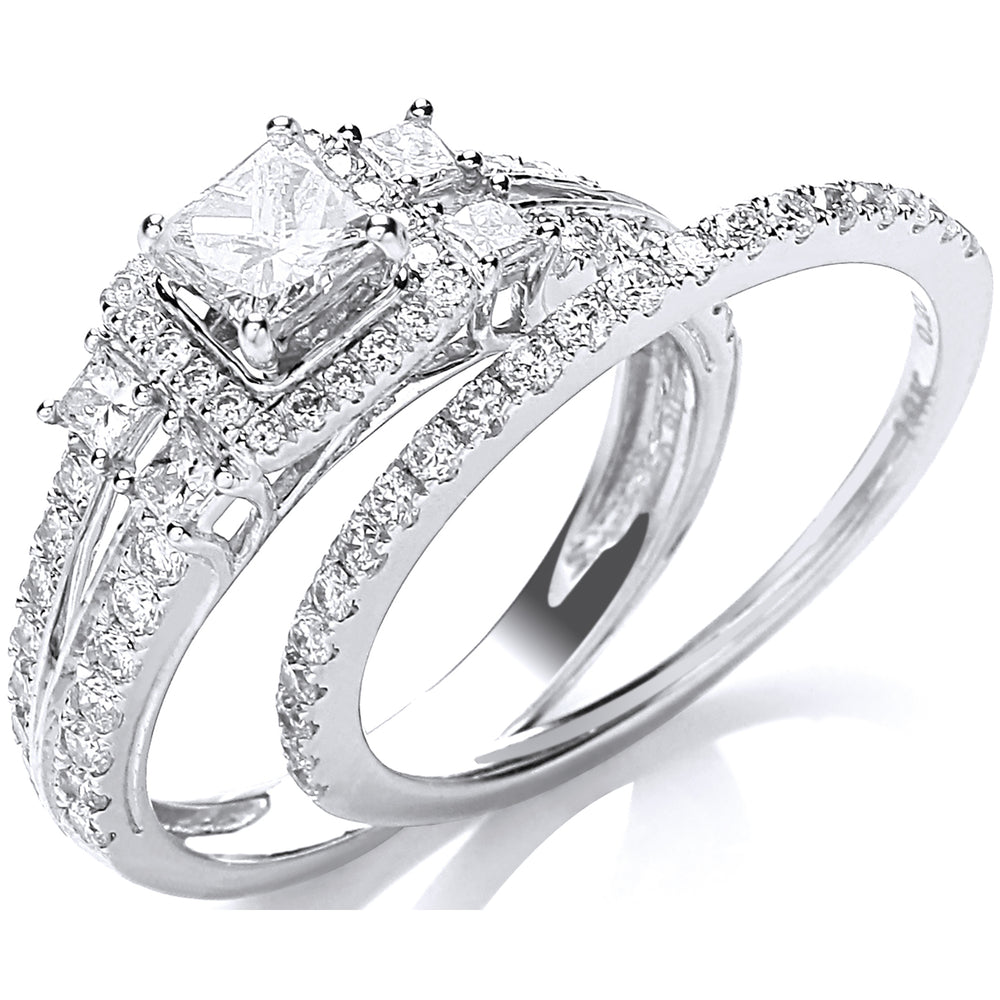 18ct White Gold 1.00ct Diamond Bridal Set Ring