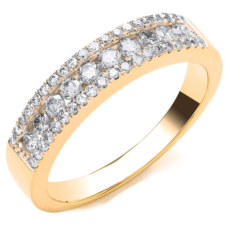 18ct Yellow Gold 0.50ct GH-SI Diamond Half Eternity Ring