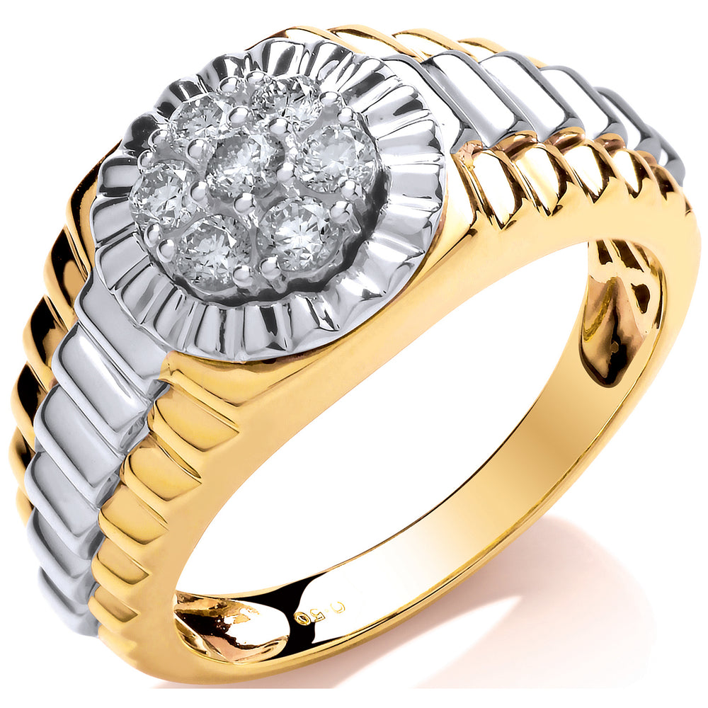 9ct Y/W Gold 0.50ct Diamond Rolex Style Ring