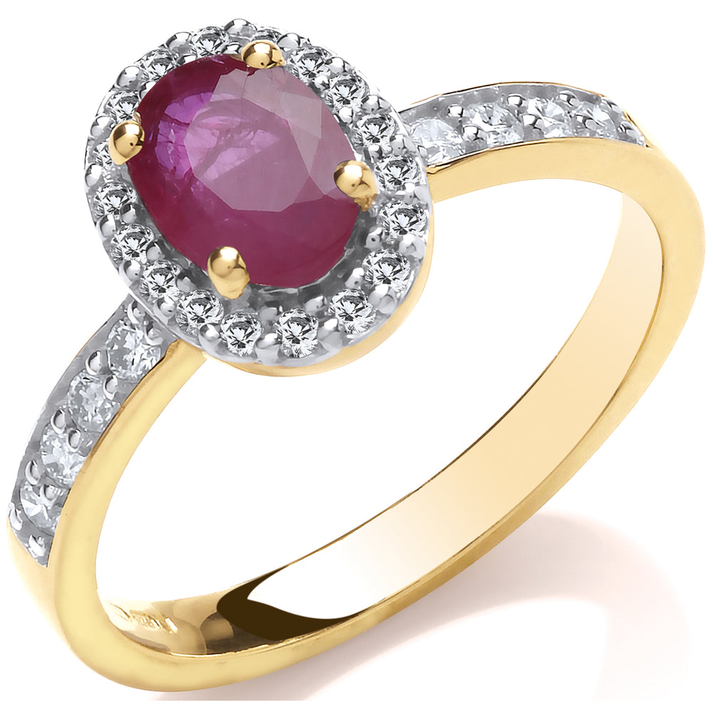 9ct 0.30ct Diamond & Oval Ruby yellow Gold Ring