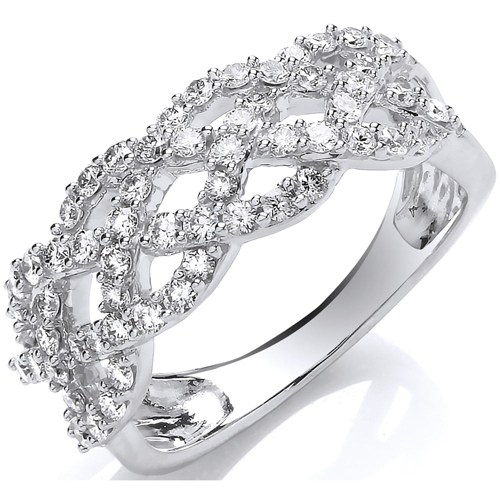 18ct White Gold 0.75ct Weaved Diamond Dress Ring