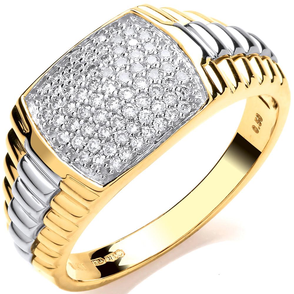 9ct Yellow Gold 0.50ct Gents Diamond Ring
