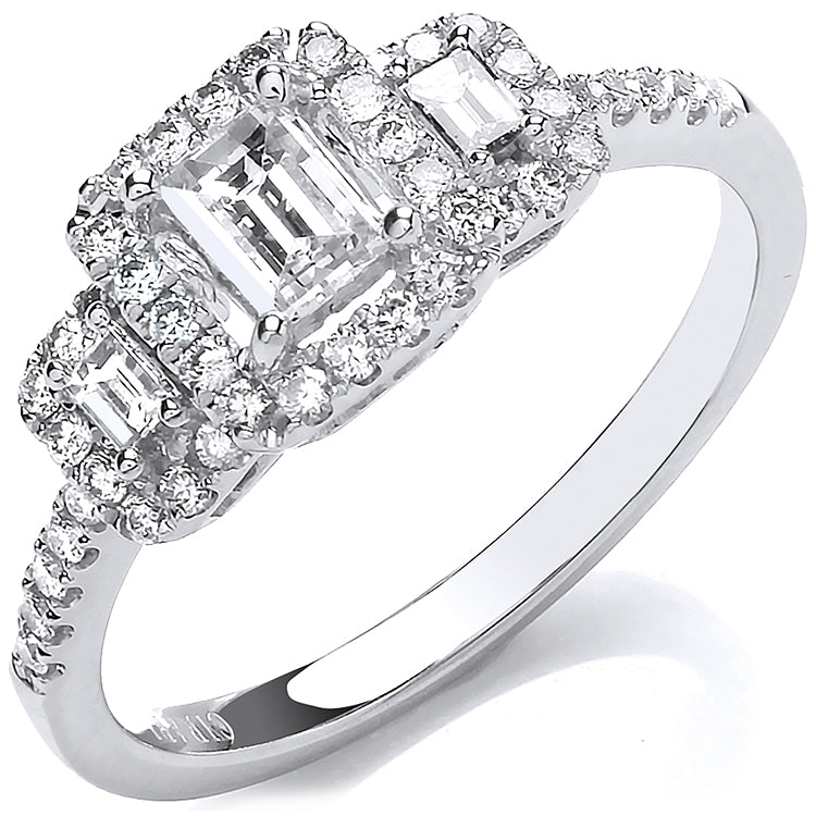 18ct White Gold Emerald Cut 0.75ct Halo style Trilogy Ring