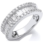 18ct White Gold 1.50ct Baguette & Brilliant Diamond Ring