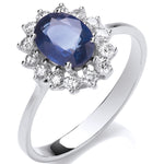 18ct White Gold 0.35ct Diamond & 1.40ct Sapphire Ring