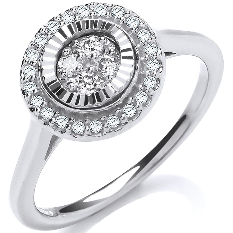9ct White Gold 0.25ctw Diamond Cluster Ring with D/C Bezel