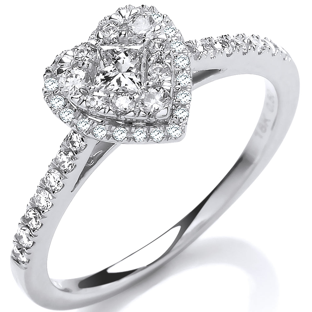 18ct Heart Shaped 0.50ctw Dress Ring.