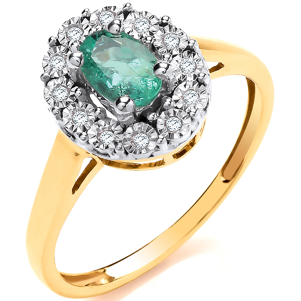 9ct Yellow Gold 0.40ct Emerald Cluster & 0.05ct Diamond Ring