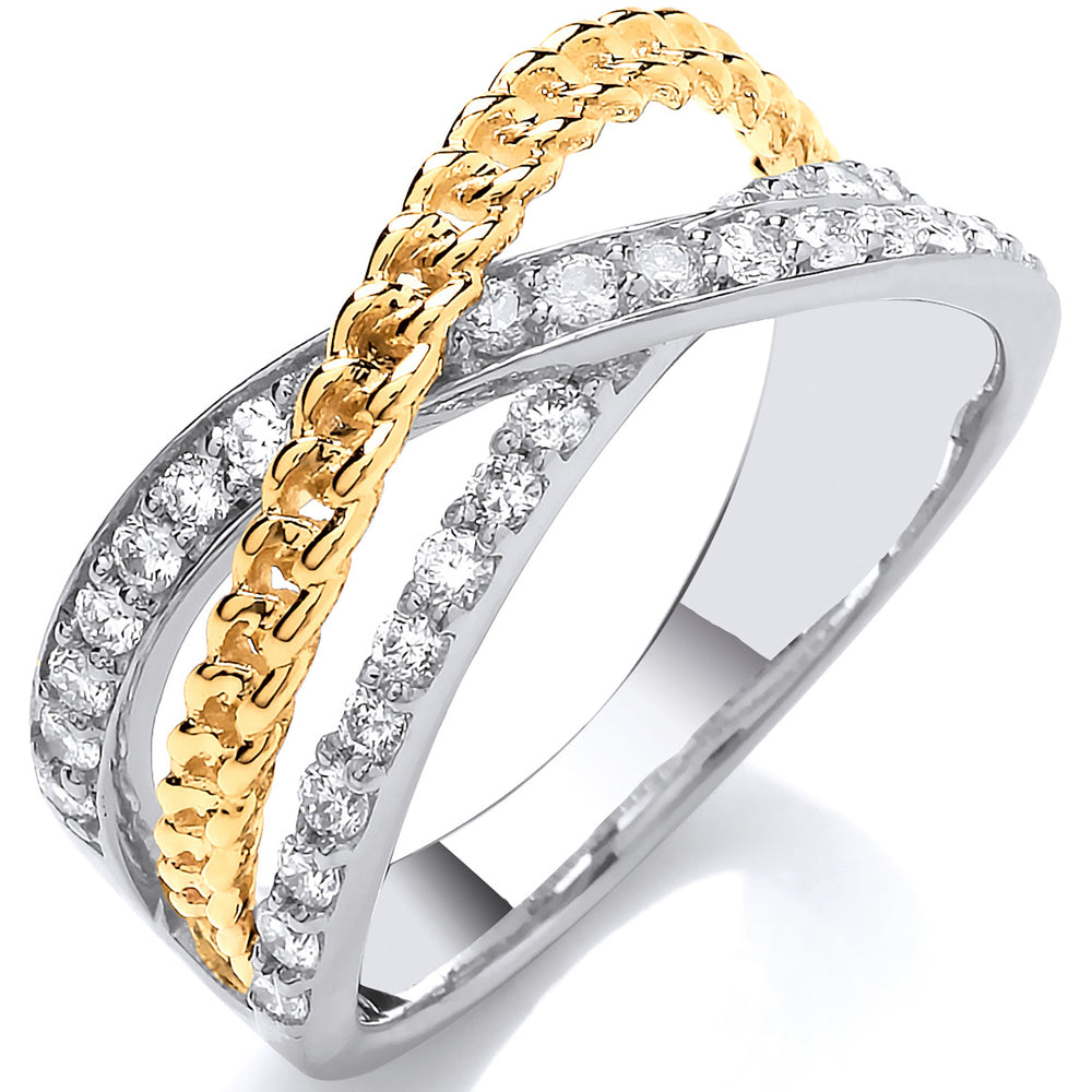 9ct White & Yellow Gold Cross Over 0.50ctw Diamond Ring