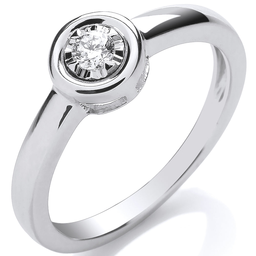 9ct White Gold 0.10ct Rub-Over Illusion Set Ring