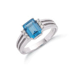 9ct White Gold 0.09ct Diamond & 2.00ct Blue Topaz Ring