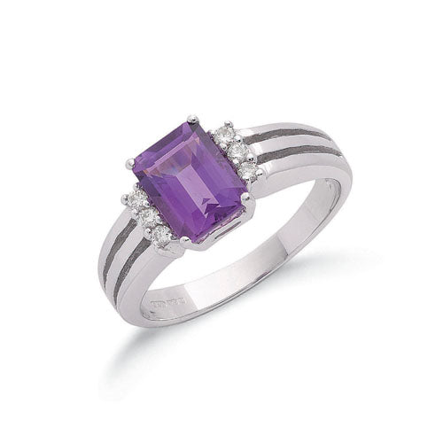 9ct White Gold 0.09ct Diamond & 1.70ct Amethyst Ring