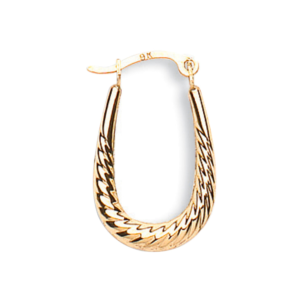 9ct Yellow Gold Ribbed Oval Creoles