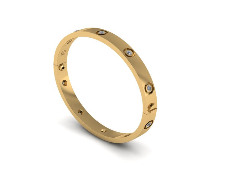UK Made Screw Bangle (All Diamond)
