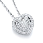Sterling Silver Cubic Zirconia Heart Pendant With Chain