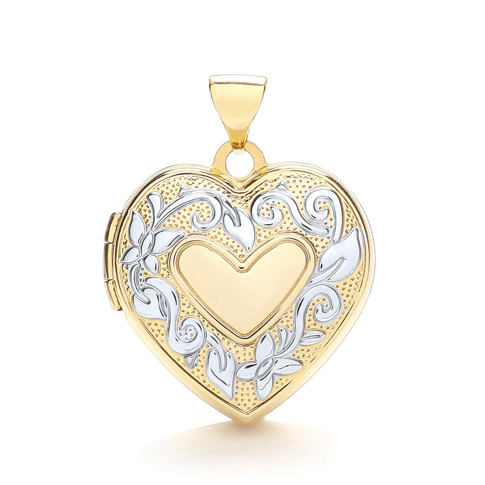 9ct Yellow & White Gold Heart Shaped Family Locket