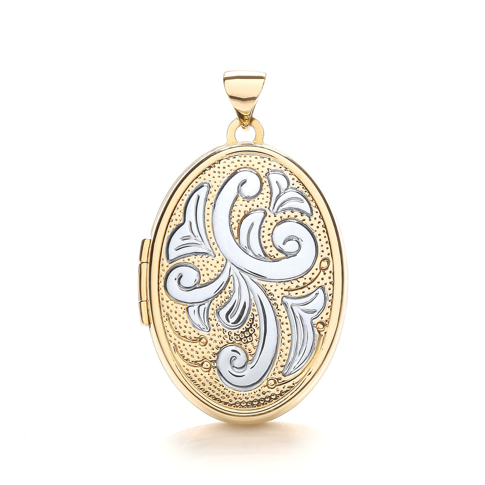9ct Yellow & White Gold Oval Shaped Family Locket