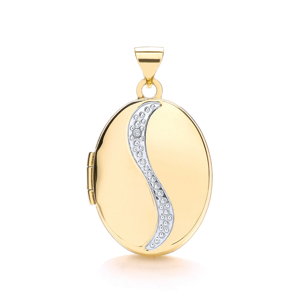9ct Yellow Gold Oval Shaped Locket with Diamond
