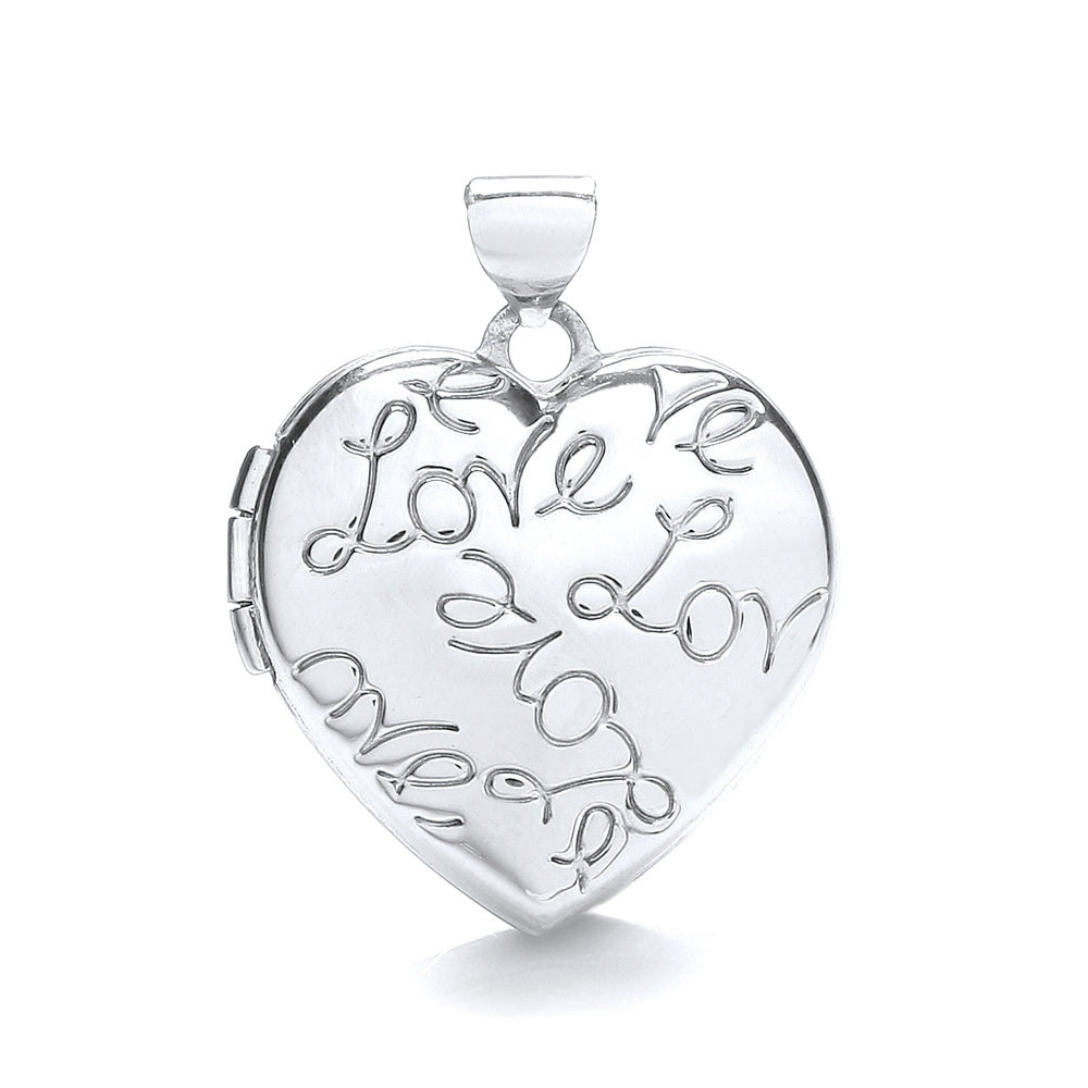 9ct White Gold Heart Locket with Love engraved