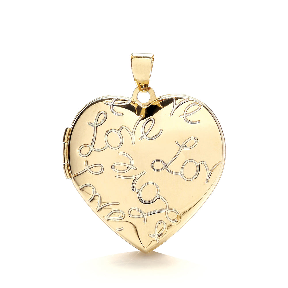 9ct Yellow Gold Heart Shape Locket with Love engraved