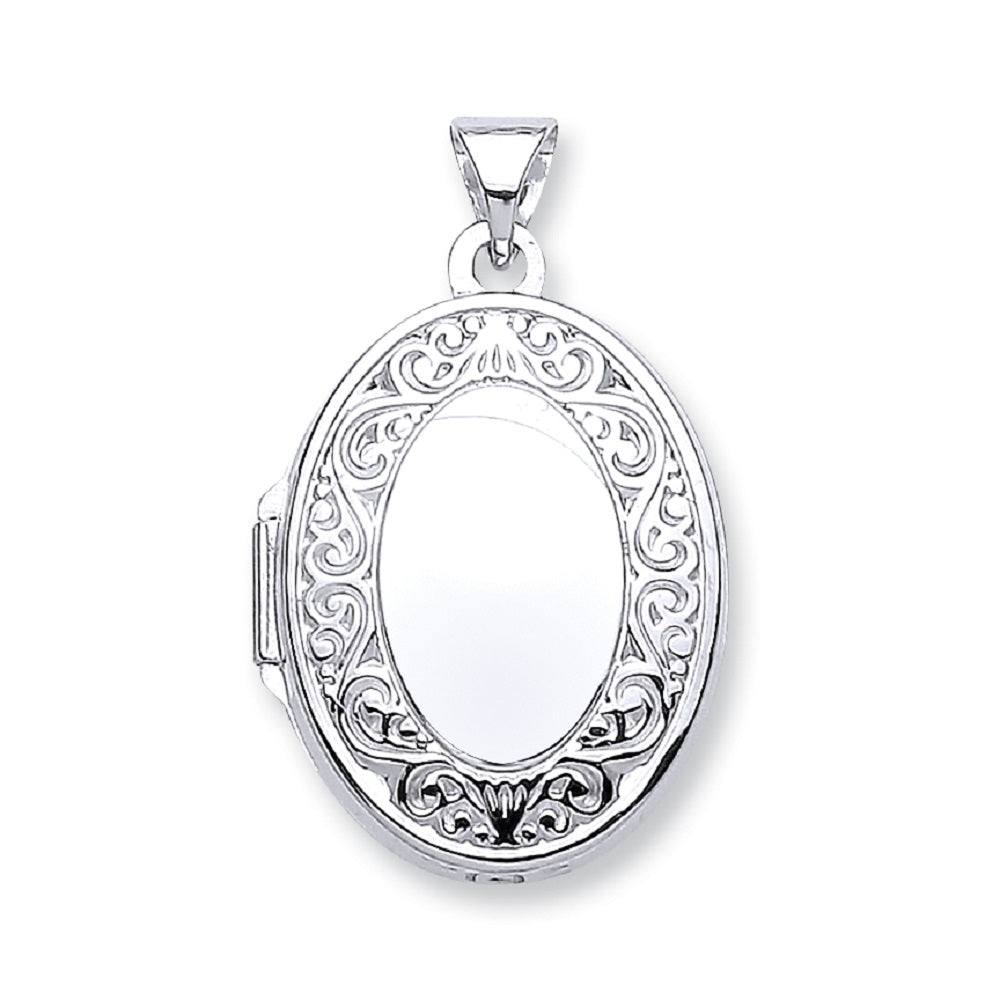 9ct White Gold Oval Shape Locket with edge design