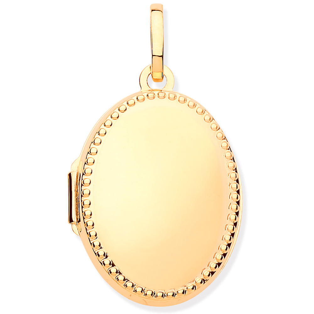 9ct Yellow Gold Millgrain Edge Oval Locket