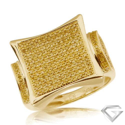 10KT Gents Yellow Diamond Mens Ring 0.75ct