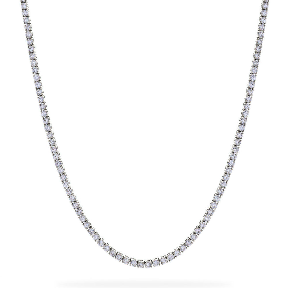 Straight Four Claw Diamond Tennis Necklace 35.91ct