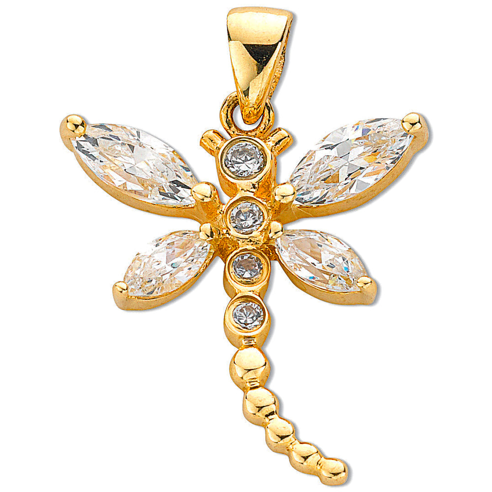 9ct Yellow Gold Cubic Zirconia Dragonfly Pendants