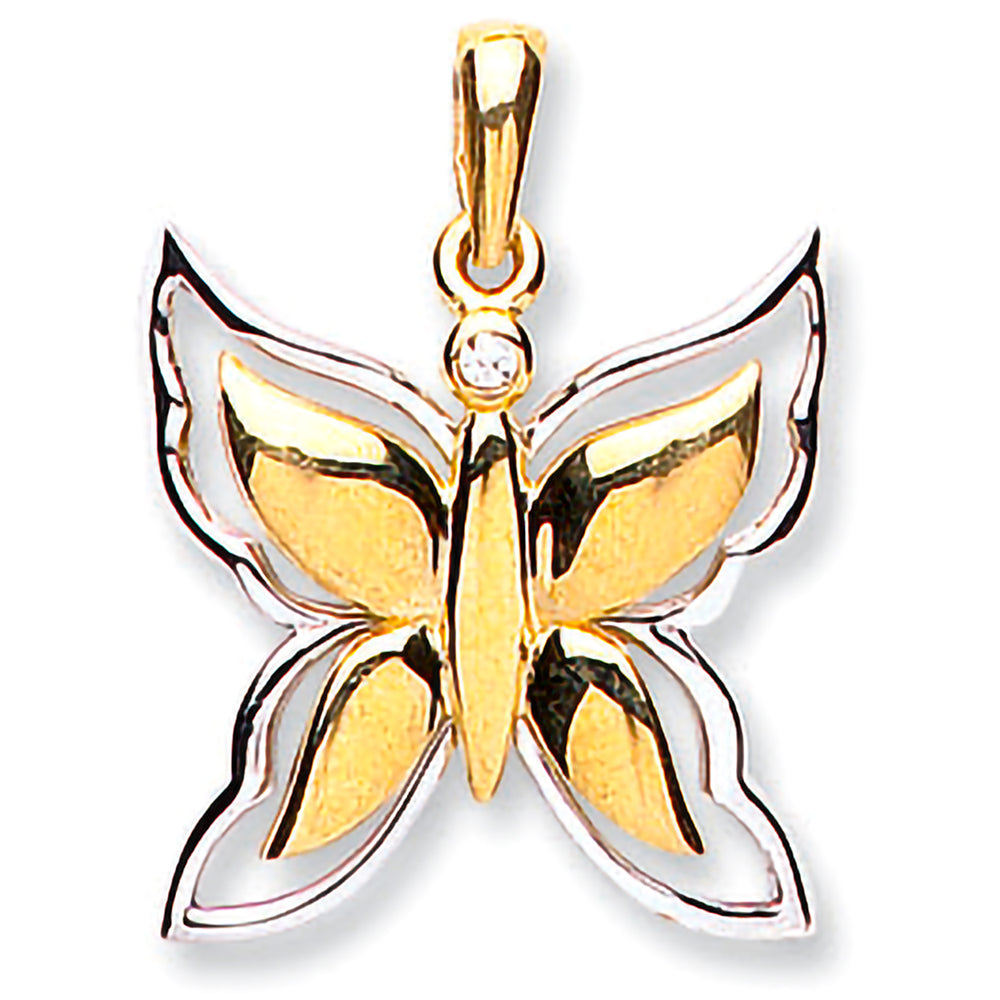 9ct Yellow & White Gold Butterfly Pendant