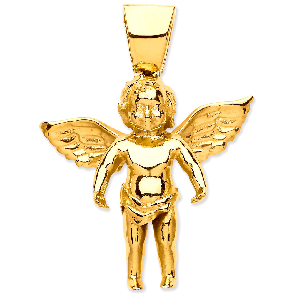 9ct Yellow Gold Large Charm Angel Pendant