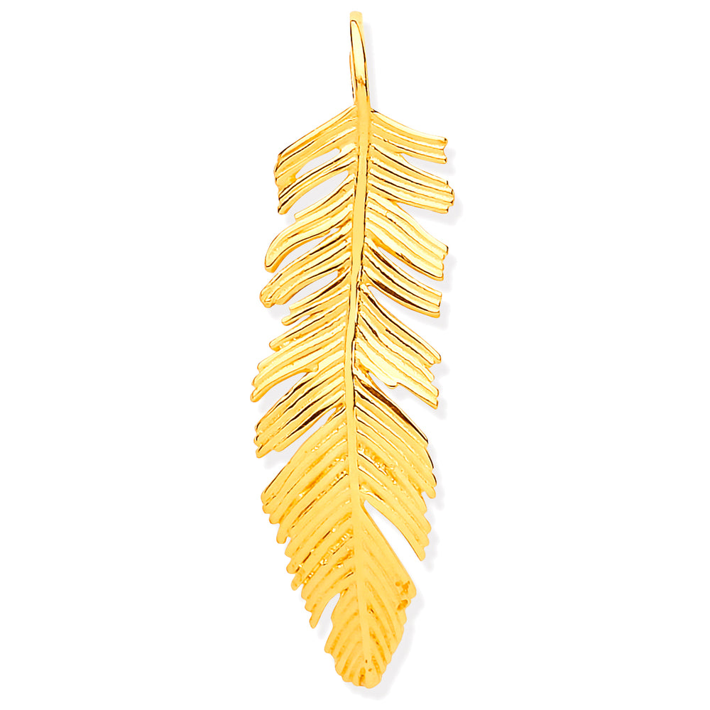 9ct Yellow Gold Feather Leaf Large Pendant