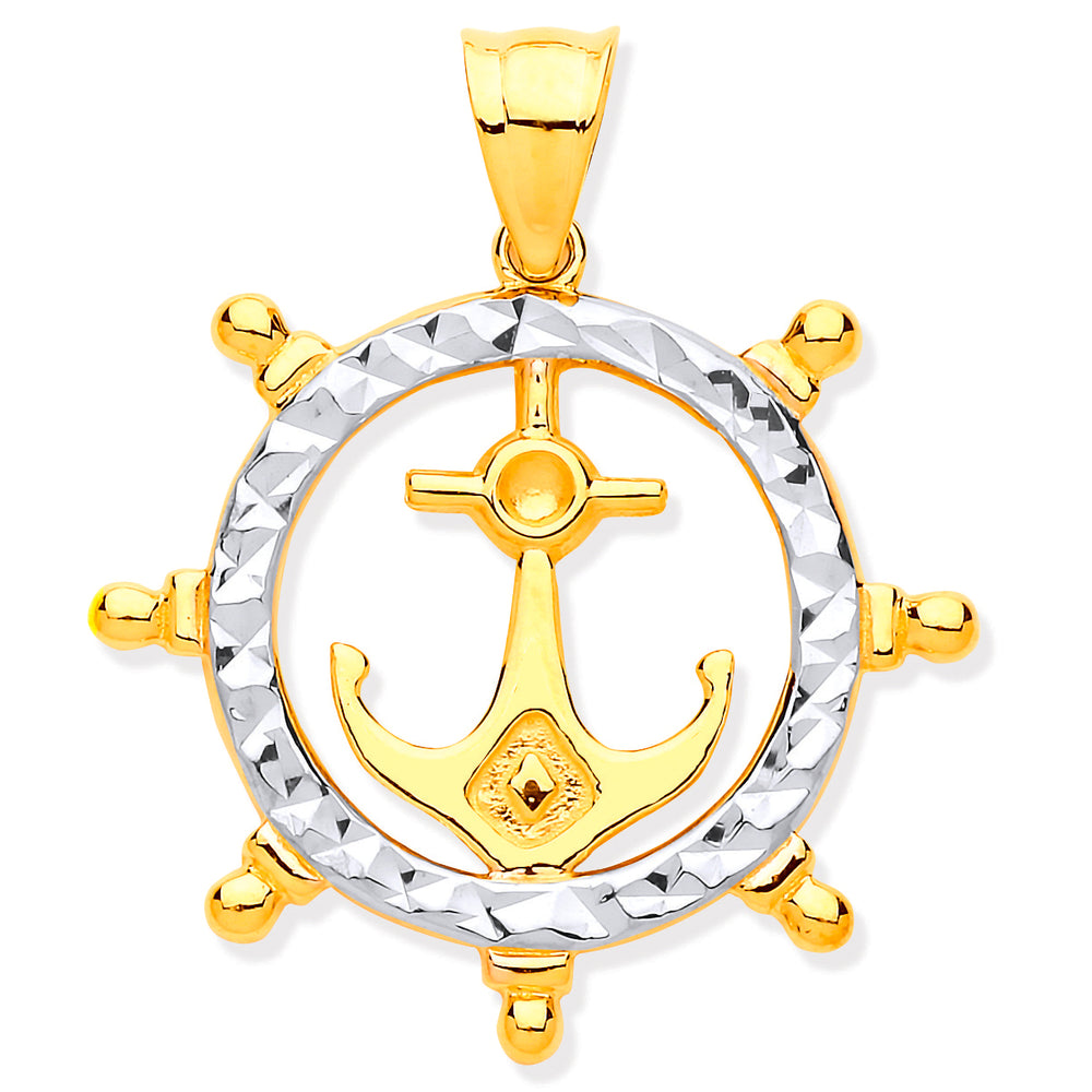 9ct Yellow & White Gold Anchor In Ship Wheel Pendant