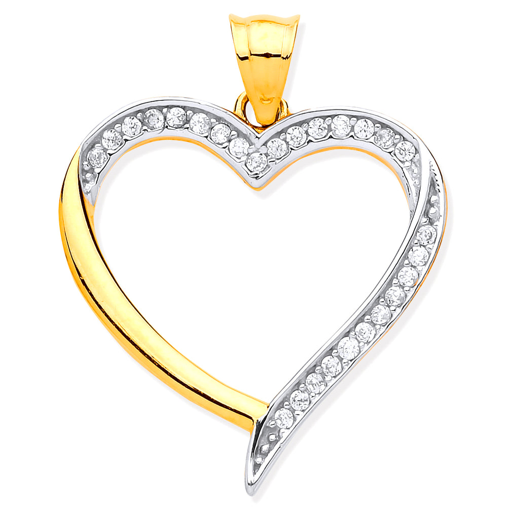 9ct Yellow & White Gold Cubic Zirconia Heart Pendant