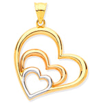9ct Yellow, White & Rose Gold Cubic Zirconia Hearts Pendant