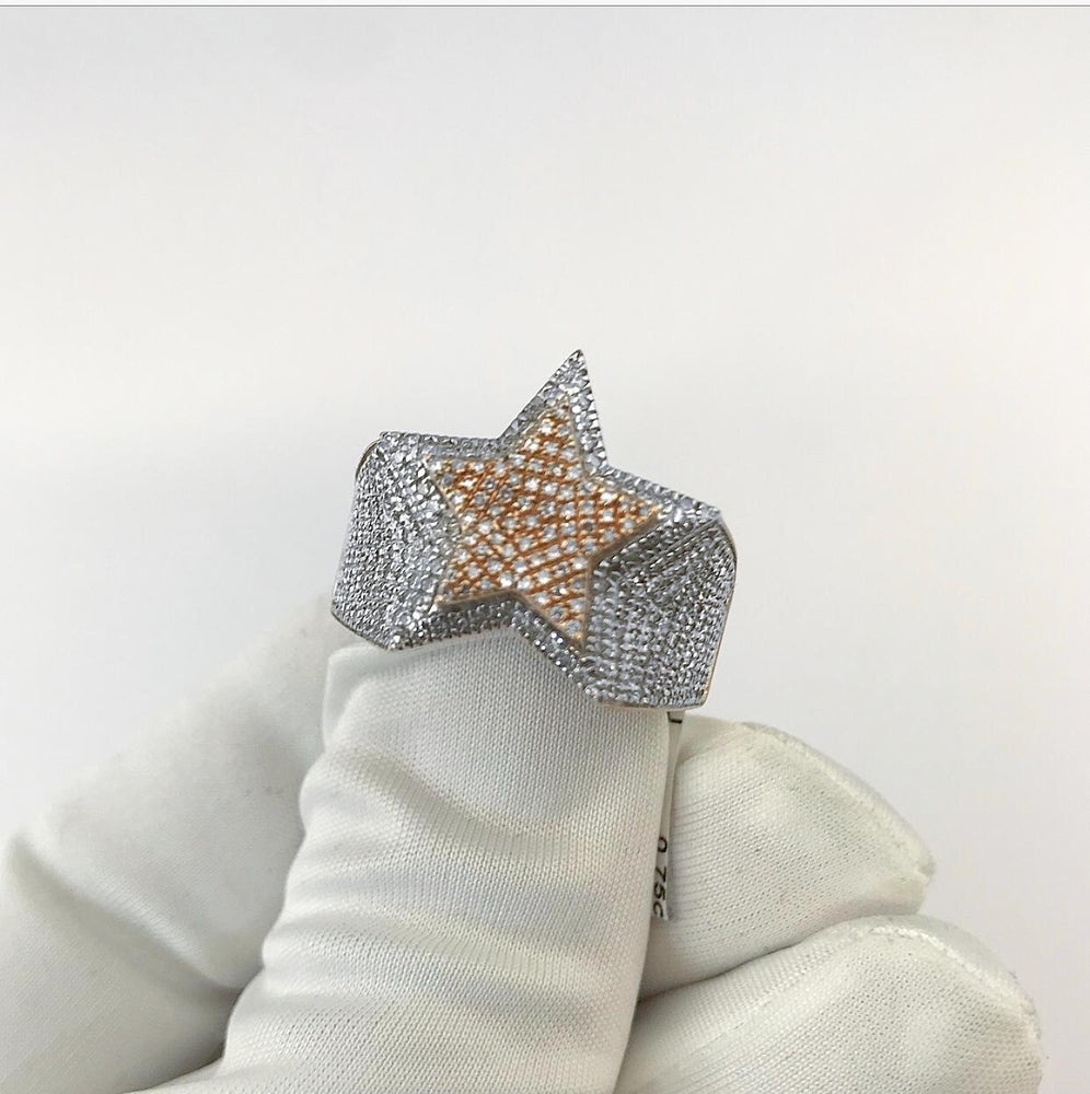 10ct Rose Gold Sweeping Star Diamond Ring