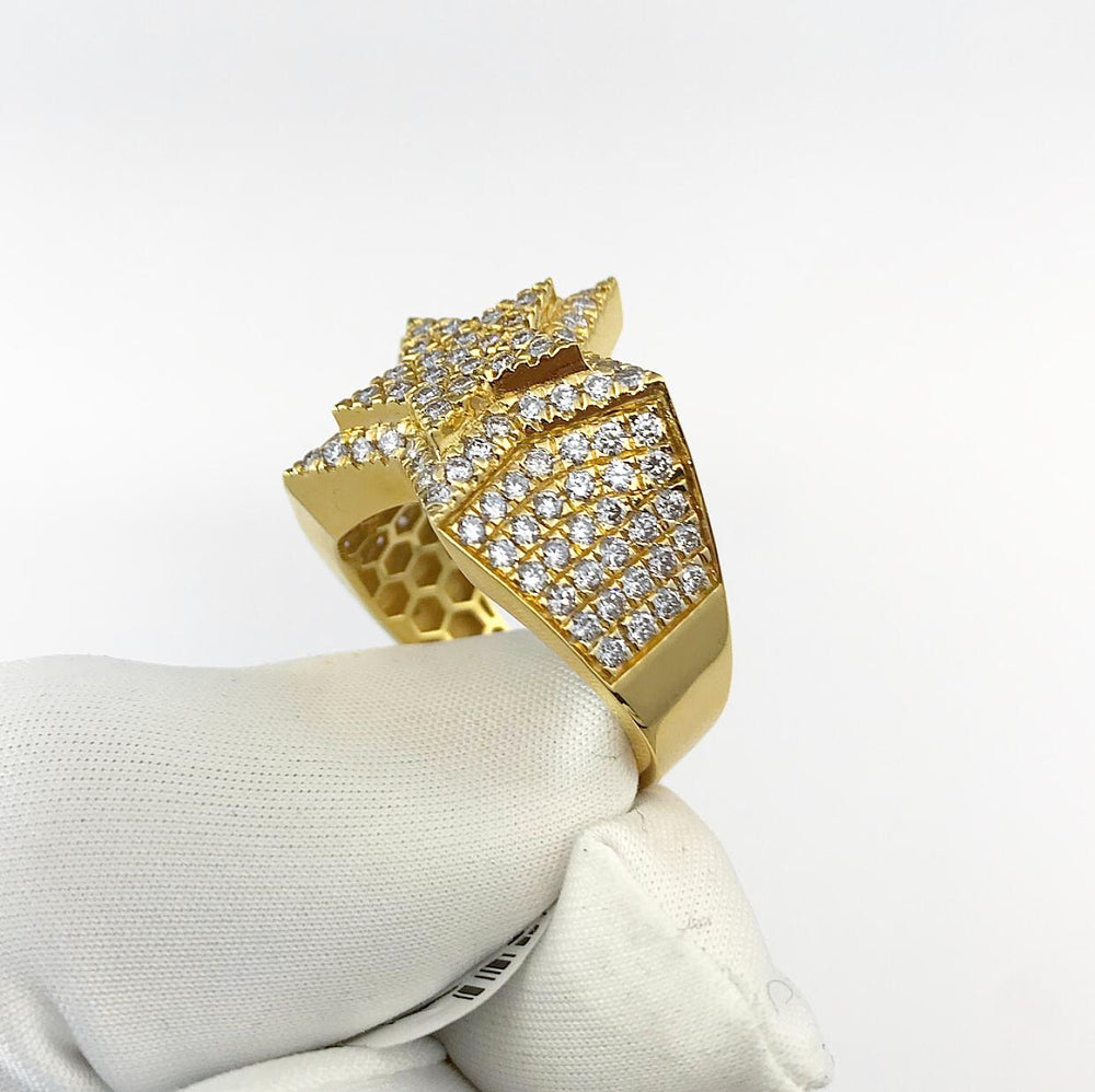 10ct Yellow Gold Sweeping Star Diamond Ring