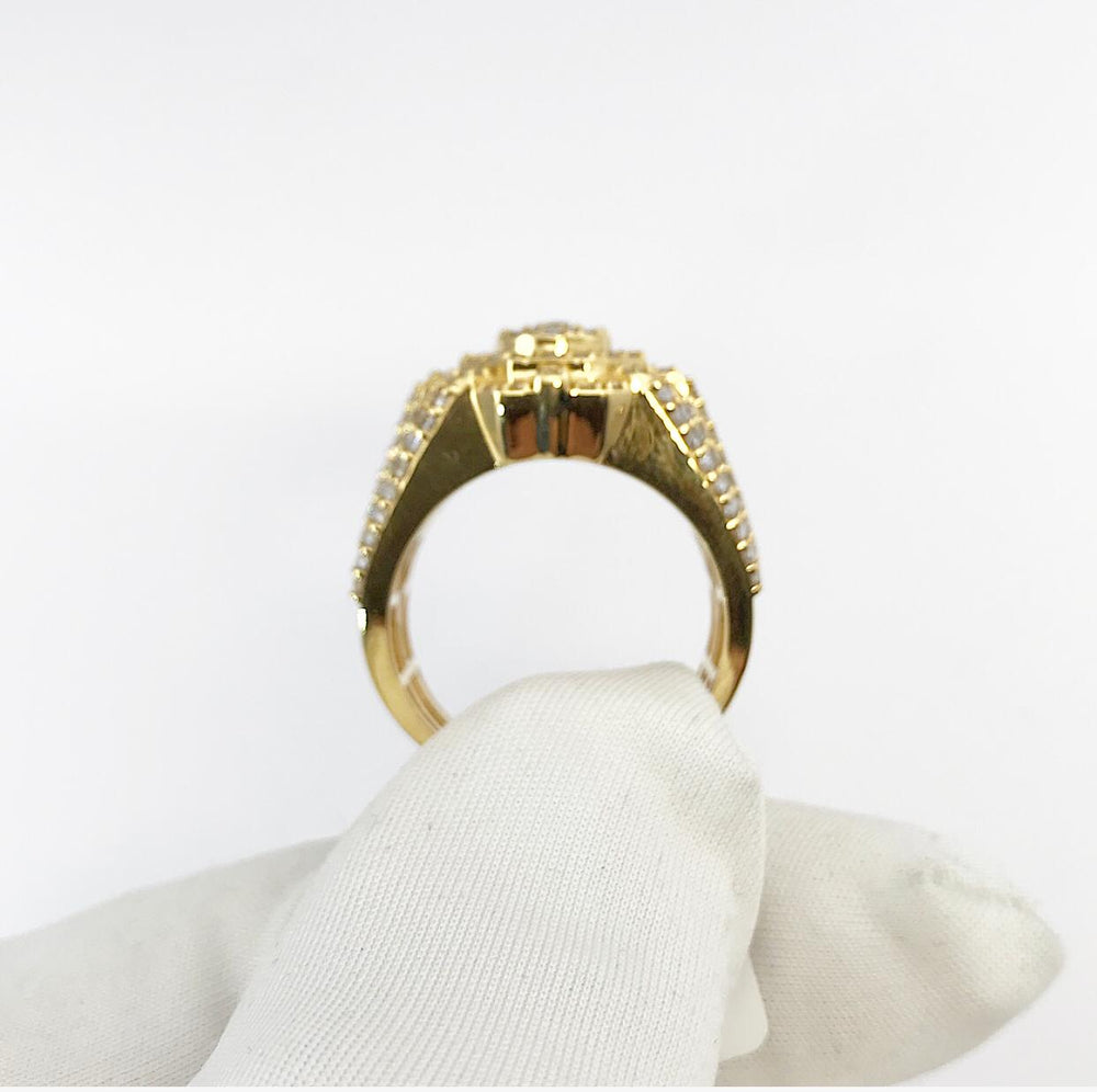 10ct Yellow Gold Octagonal Head Diamond Ring