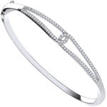 Silver Split Shank Cubic Zirconia Ladies Bangle