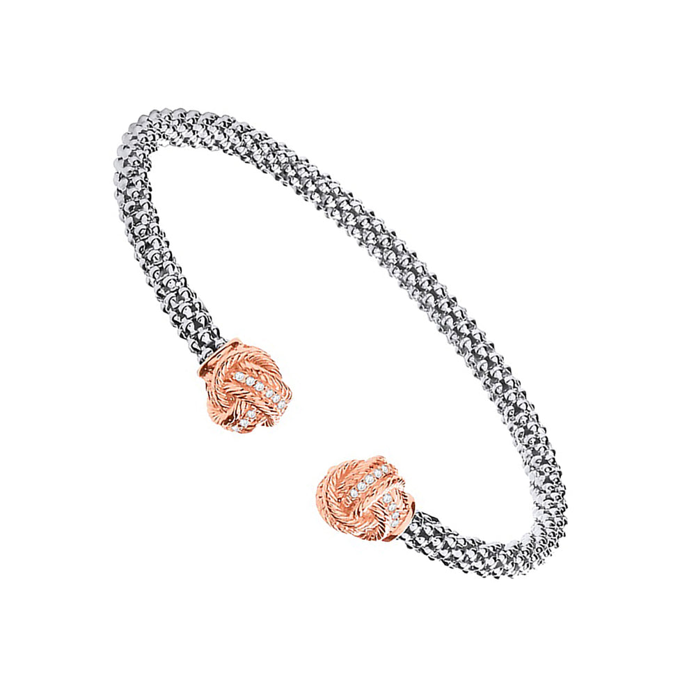 Silver Torque Bangle with Rose Coated Cubic Zirconia Knots