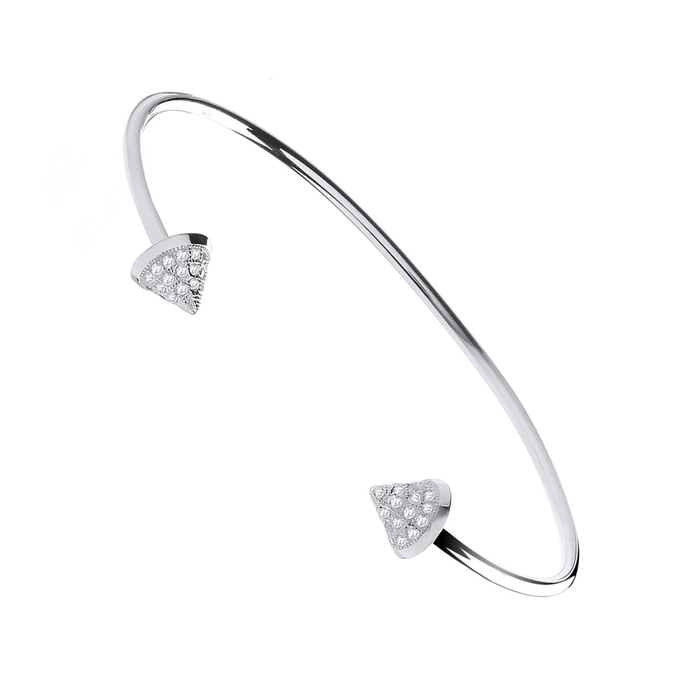 Silver Pyramid Cubic Zirconia Cones Bangle
