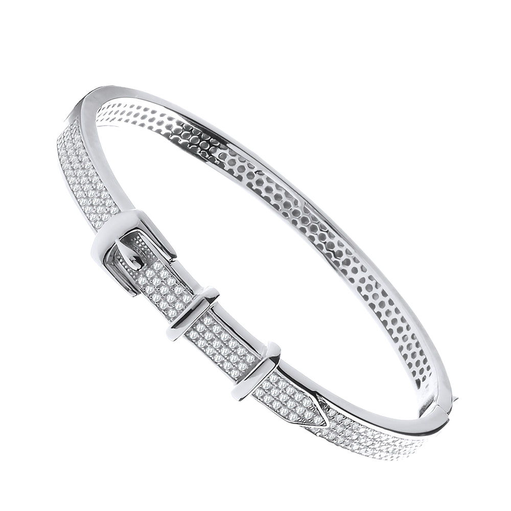 Silver Cubic Zirconia Pave Belt Buckle Bangle