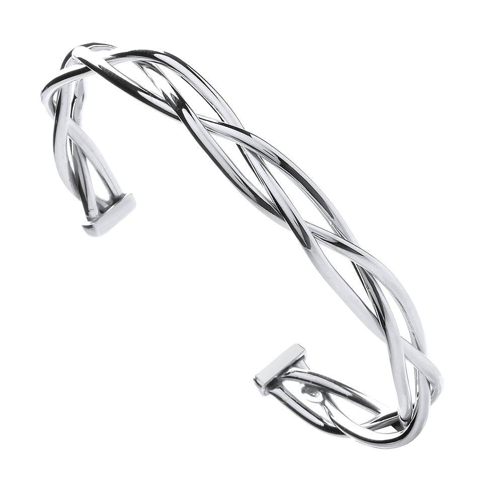 Silver Twisted Hollow Tube Open Bangle