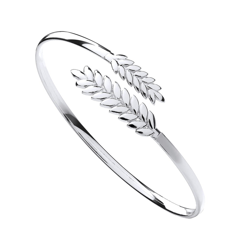 Silver Barley Leaf Ladies Bangle