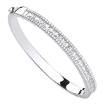 Silver Hindged Princess Cut & Round Cubic Zirconias Bangle