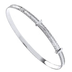 Silver 4mm Expandable Diamond Cut Bangle