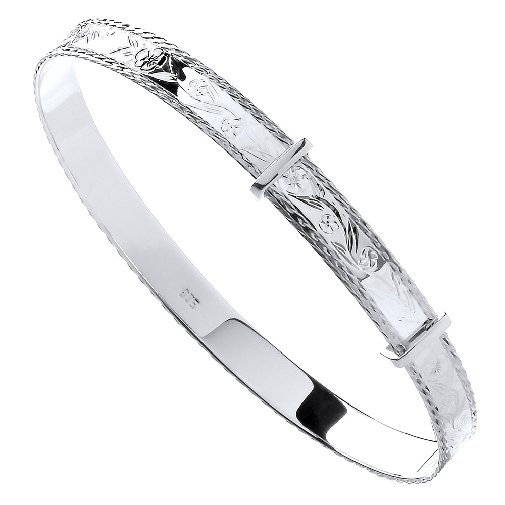 Silver 6mm Expandable Diamond Cut Bangle