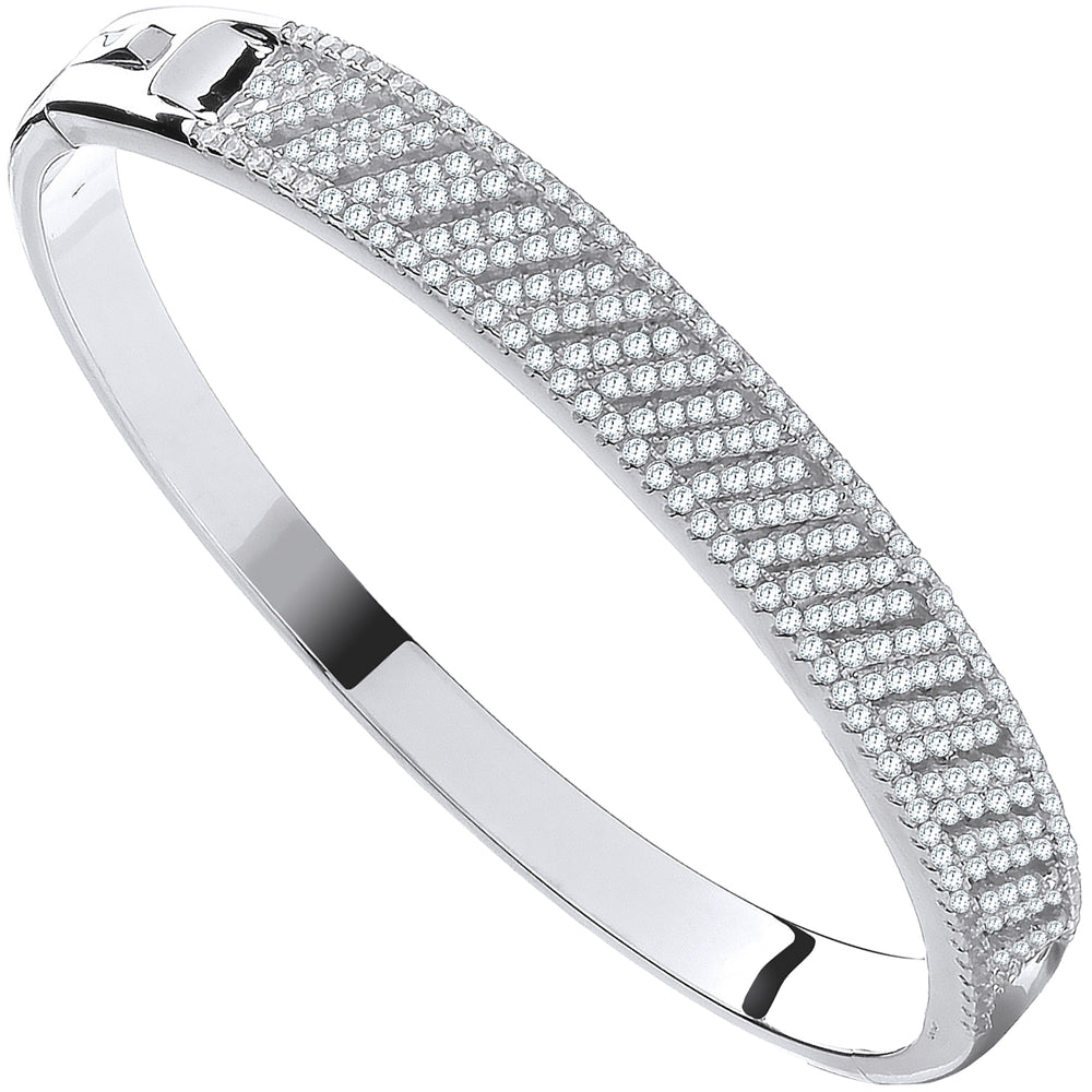 Silver Cross Lines Cubic Zirconia Ladies Bangle